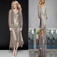 Wholesale Silk Wedding Dresses Cheap - 2018 New Two Pieces Mother Of The Bride Dresses With Coat Long Sleeve Tea Length Short Wedding Guest Gowns Cheap Plus Size