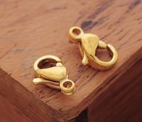 lagosta fecho ouro 12mm venda por atacado-30ps / lote a granel 18 k banhado a ouro 12mm acessórios de jóias moda fecho da lagosta de aço inoxidável gancho diy jóias encontrar componentes