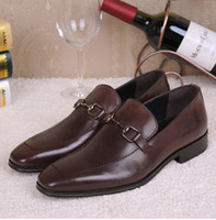 Wholesale Top Mens Suits Brands - New Men Oxford Flat Shoes Top brand Men Moccasins Shoes Wedding Genuine Leather Mens Dress Shoes Suit Silp on Metal Buckle zapatos hombre