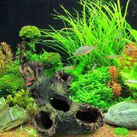 Wholesale Wholesale Aquarium Fish Gifts - Simulation Artificial Resin Aquarium Background Ornament For Furnishing Landscaping Hollow Trunk Tree Log Wood Fish Tank Decoration 8jl C R