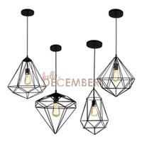 Wholesale pendant light bronze - Industrial Style Metal Hanging Caged LED Pendant Lights Vintage Rubbed Bronze Art Deco LED Ceiling Pendant Lamps