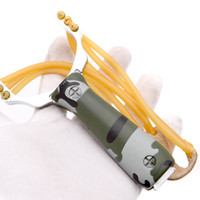 ingrosso fionde in alluminio-Lega di alluminio Caccia esterna Slingshot Catapulta di caccia con arco fionda potente con elastico Ideale per l'intrattenimento all'aperto