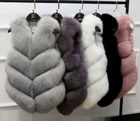 Wholesale thick fur coat - HOT Women Fur Vest Coat Thick Fluffy Warm Woman Faux Fox Fur Vest Coat Jackets O-Neck Manteau Fourrure Femme