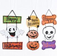 tiras de calavera al por mayor-Espectro de la decoración de la pared de Halloween que cuelga tres que cuelgan la bandera de la cabeza del cráneo de la calabaza