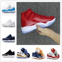 Wholesale New Mens Basketball Shoes 11 - 2017 new retro 11 basketball shoes Space Jam Metallic Gold mens sneaker navy blue discount shoes Varsity Red Closing Ceremony athletics