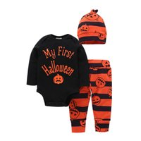 Wholesale Hat Romper Costumes - Baby Pumpkin Halloween Outfits Costume My first Halloween Letters Long Sleeve Romper With Pants Hat 3Pcs Set 0-2Years 2017 Autumn