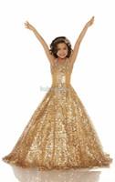 ingrosso yellow halter top dress-2016 Sexy Economici Oro Viola Organza Perline Halter Ball Gown Girl Pageant Abiti Shiny Paillettes Fiore Ragazza Abiti Bambini Abbigliamento formale 2617 S