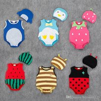 Wholesale Quality Infant Clothing - RMY24 NEW 6 Designs infant Kids Fruit Print Cotton Triangle Romper High Quality baby Climb clothing boy girls Romper Summer Romper +hat