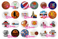 Wholesale Bracelet Basketball - Interchangeable18mm Cabochon Glass Stone Buttons Sport Gift Basketball Button for Snap Jewelry Bracelet Necklace Ring Earring