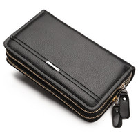 Wholesale manning materials gifts - leather men wallet PU material high quality 2017 new double zipper purses and wallets gifts for men