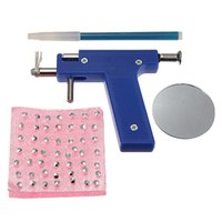 Wholesale Navel Stud Free Shipping - New arrival hot Selling 1Set Pro Stainless Steel Ear Nose Body Navel Piercing Gun With 98pcs Ears Studs Tool Kit Free Shipping