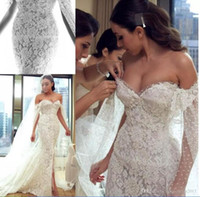Wholesale Charming Pleats Mermaid Trumpet Sweetheart - Sexy Charming Mermaid Split 2018 Wedding Dresses with Ribbon Sexy Lace Appliqued Beads Sweetheart Backless Sweep Train Bridal Gowns