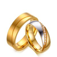 Wholesale Ring Gold Married - New products listed fashion jeweley stainless steel cubic zirconia get married couple rings