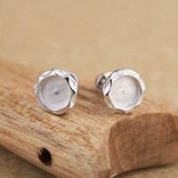Wholesale Semi Mounts For Earrings - Sterling Silver 925 Plated White Gold Trendy Stud Earrings Women Semi Mount for Round Cabochon 7x7mm Amber Agate Apal Garnet Fine Jewelry