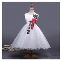 Wholesale Embroidered Tank Dress - 2017 new arrival spring autumn girl dresses girls clothing girl Embroidered wedding dress in Europe and America bow cotton dresses Tank top