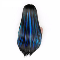 Wholesale clip in hair extension for sale - 5 Clip In Hair Extension Heat Resistant Synthetic Fiber Mixed Colorful Grey Blue Halloween Hair Piece For Africa American