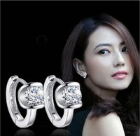 Wholesale created diamond earrings - Vintage Elegant Earrings For Women 1CT Created Diamond Angel Kiss Fashion Silver Ear Jewelry 925 Sterling Silver Stud Earrings