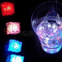 Wholesale led plastic cube - Halloween LED Light Ice Cube Artifical Liquid Sensor Lighting Ice Cubes Flash For Christmas Wedding Ktv Bar Party Romantic Decoration Best