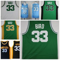 Larry Bird College Basketball Trikots Throwback Indiana State Sycamores Neue Valley High School 33 Larry Bird genäht Gelb Rot Shirts