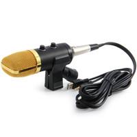 micrófono para pc skype al por mayor-Radio profesional de radiodifusión con cable Micrófono de grabación con soporte para chatear Cantar Karaoke PC portátil Skype Grabación