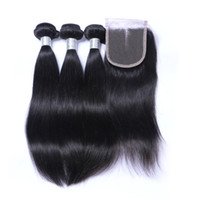 Wholesale Dhl Hair Peruvian - Straight Hair Weft With Closure Unprocessed Brazilian Indian Malaysian Peruvian 7A Quality Human Hair Natural Color DHL Free Shipping