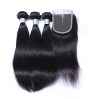 Straight Hair Weft With Closure Unprocessed Brazilian Indian Malaysian Peruvian 7A Qualidade Cabelo Humano Natural Color DHL Frete Grátis