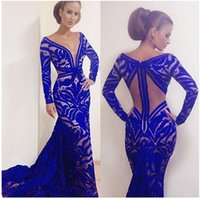 Wholesale Dress Evening Black Long Free - 2016 Custom Made Mermaid Royal Blue Formal Evening Dresses V-Neck Long Sleeve Evening Gowns Sexy Lace Floor-Length Prom Gowns Free Shipping