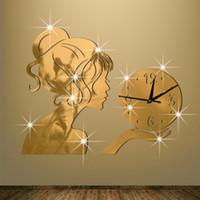 aguja de reloj de cuarzo al por mayor-2016 nuevo reloj de pared relojes horloge reloj Living Room Quartz Needle acrílico decoración del hogar 3d diy espejo pegatinas envío gratis TY2001