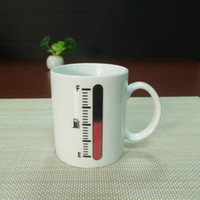 Wholesale Thermometer Coffee Cups - DHL shipping free 48pcs Best gift thermometer white ceramic heat sensitive color changing coffee mug tea cups