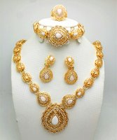 Wholesale Chunky Diamond Rings - Top Quality 18K Gold Plated Chunky Chain Necklace Earrings Bracelet Ring Set For Women Crystal Wedding Jewelry Sets Designs