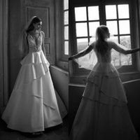 Wholesale Alencon Lace Gown Train - Deep V-Neck Wedding Dresses A line Sheer Back Floor Length Stretch Satin Tiers Alencon Lace Cascading Ruffles wedding dresses Bridal Gowns
