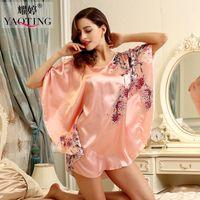 Wholesale Wholesale Women Silk Pajamas - Wholesale- womens nightdress silk robe woman sleepshirts satin pajamas femme print sleepwear female pjs summer night dress sexy nightgown