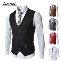 Wholesale Work Jackets For Men - Fall-Fashion Vests For Men Sleeveless Jackets Mens Plus Size Waistcoat Outdoor Jacket Work Male Vest YY511