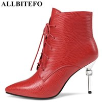 Wholesale Girls Crystal Wedge - Hot sale crystal heel genuine leather pointed toe high heels women boots Snake texture high heel shoes martin boots girls boots