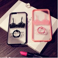 Wholesale Wholesale Case Bra - Phone Cases Lace Bra Pattern Design Sexy Cover with Phone Ring Holder Kickstand 360 Protection Mobile Phone Cases for Iphone6 6splus