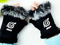 Wholesale Naruto Fingerless Gloves - Wholesale- Fashion anime naruto mittens adjustable black pink cony hair winter gloves unisex guantes high quality