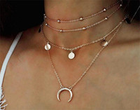 Wholesale European Bead Choker - European Style Fashion Multilayer Necklace Gold Plated Moon Pendant Necklace Women Beads Coin Charm Chokers Fine Jewelry A038