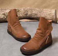 braune flache stiefel für frauen großhandel-Großhandel verkaufen Wohnungen Echtleder Frauen Stiefel Vintage braun weiches Leder Qualität Mode Ankle Booties size35-40