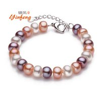 Wholesale Type Tops For Women - Wholesale-Top quality 8-9mm natural freshwater pearl bracelet for women white multi-color two types fashion charm bracelet