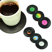 Wholesale Drop Coaster - Wholesale- Saingace Vinyl 6Pcs Set Spinning Retro Vinyl Record Drinks Coasters High quality Coaster Cup Mat #10 2016 Gift 1pc Drop