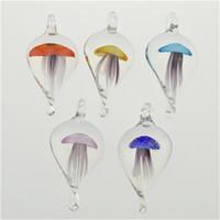 pingentes de murano venda por atacado-2016 Limpar Jellyfish animal em forma de pingentes de vidro colar exclusivo Murano Glass Jewelry Lampwork esmalte pingente em massa barato 12pcs