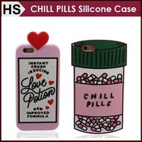 Wholesale Pink Pill - CHILL PILLS Bottle Silicone Case For iPhone 5 5S SE 6 6S Plus Soft Love Potion Cartoon Silicon Cover DHL Wholesale