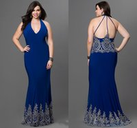 Wholesale Evening Dress Elegant Price - Royal Blue Halter Neck Evening Gown Cheap Price Sleeveless Floor Length Appliques Elegant Beautiful Backless Sexy 2017 Free Shipping Cheap