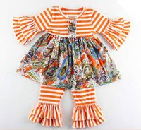 Wholesale Toddler Striped Tutu Dress - baby clothes fall autumn toddler girls long sleeve floral dresses + ruffle pants striped kids boutique outfits cotton clothing set wholesale