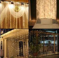 rideaux orange clair achat en gros de-LED maison vacances en plein air de noël mariage décoratif ficelle guirlande rideaux guirlandes bande partie lumières
