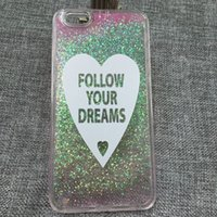 Wholesale Cover Follows - Follow Your Dreams Love Liquid Glitter Case For Samsung Galaxy Note Iphone 6 6S Plus Cover