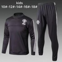 Wholesale Boys Tracksuits Free Shipping - Top quality 17 18 new kids Long sleeve Soccer jacket training suit 2017-2018 children football tracksuit jerseys black United free shipping