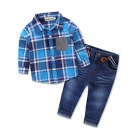 Wholesale Baby Boy Jeans Months - 2016 Boys Baby Childrens Clothing Sets Spring Autumn Long Sleeve Plaid Shirts Jeans 2 Set Kids Clothes Newest Clothing