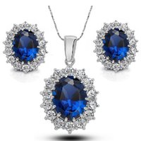 Wholesale Wholesale Jewellery Sapphire - Cubic Zirconia And Austrian Crystal Sapphire Jewelry Sets For Women Fashion Jewellery & Jewerly 2016 Bridal Wedding Jewelry Sets