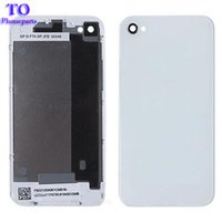 Wholesale Apple Iphone 4s Housing - 100pcs lot Real battery cover For iPhone 4 4G 4S Back Cover Door Rear Panel Plate Glass Housing free ship by DHL